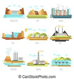 electricidade, geração, plantas, fontes