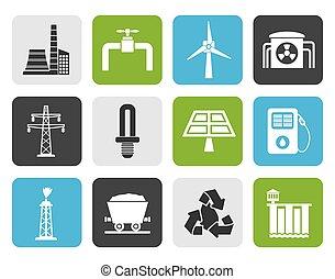 electricidade, indústria, ícones