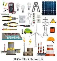 electricidade, indústria energia, poder, ícones