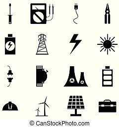 electricidade, jogo, ícone