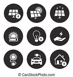 electricidade, jogo, energia, ícone