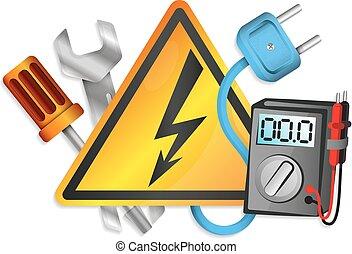 electricidade, jogo, ferramentas, vetorial