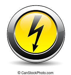 electricidade, perigo, etiqueta