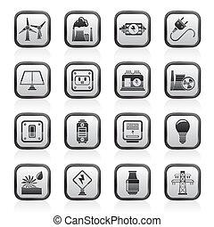 electricidade, poder energia, ícones