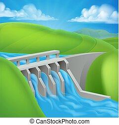 electricidade, represa, gerando, poder hidroelétrico