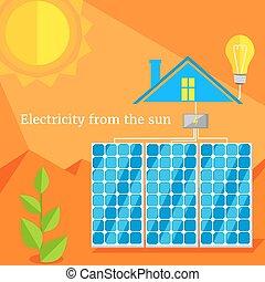 electricidade, sol, desenho, apartamento