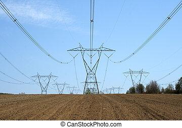 electricidade, terra cultivada, pylons