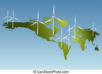 electricidade, terra, gerando, turbinas, vento