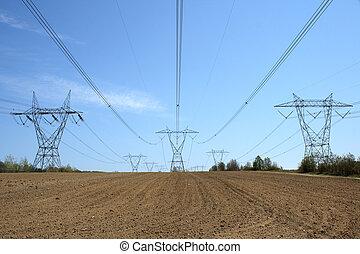 electricidade, terra, pylons, cultivado