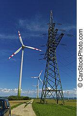 electricidade, turbina, estação, poder vento