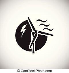 electricidade, vento, fundo branco, gerador