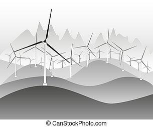 electricidade, vento, geradores, moinhos vento