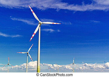 electricidade, vento, planta, pinwheel, poder