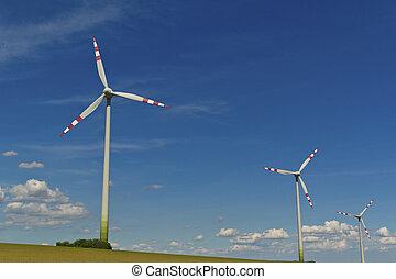 electricidade, vento, planta, turbina, poder