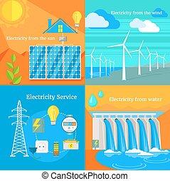 electricidade, ventoso, solar, hydro