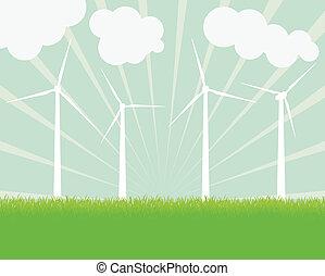 electricidade, vetorial, geradores, vento, fundo