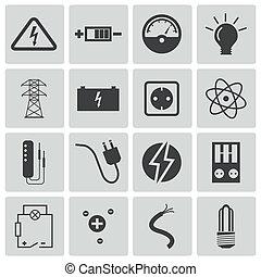 electricidade, vetorial, pretas, jogo, ícones