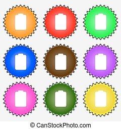 electricidade, vetorial, sinal., baixo, ícone, bateria, jogo, vazio, colorido, diferente, labels., nove