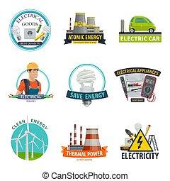electricidade, vetorial, tecnologia, poder, ícones
