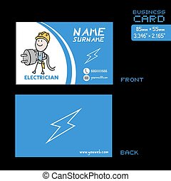 electricista, azul, tarjeta