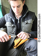electricista, cableado, preparando