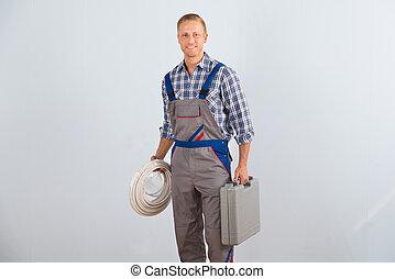 electricista, caja de herramientas, cables, tenencia