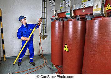 electricista, caliente, usos, palo, transformer., tierra