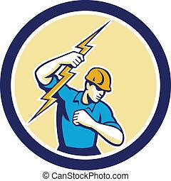 electricista, cerrojo relámpago, tenencia, círculo, lado