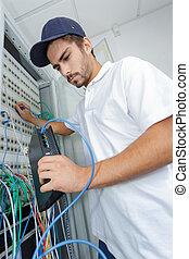 electricista, conectar, internet, servidor, a, el, potencia, tabla