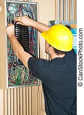 electricista, eléctrico, trabajando, panel