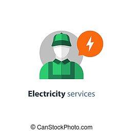 electricista, electricidad, persona, icono, eléctrico, ...