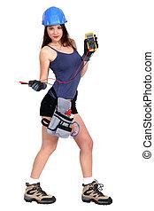 electricista, hembra, herramienta, tenencia, medida, sexy