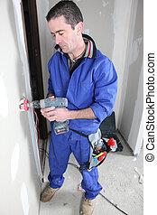 electricista, instalación, salida eléctrica
