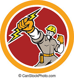 electricista, manejo, cerrojo relámpago, círculo, retro