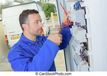 electricista, medición, voltaje, en, fusible, tabla