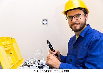 electricista, ocupación, -, trabajador, y, caja de herramientas, con, eléctrico, accesorios