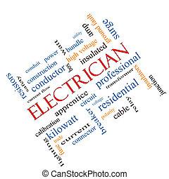 electricista, palabra, nube, concepto, angular
