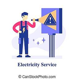 electricista, plan, eléctrico, inspección, habitación, ...