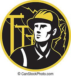 electricista, poste, reparador, delantero, potencia