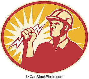 electricista, potencia, trabajador, cerrojo relámpago, línea