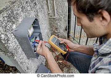 electricista, prueba, eléctrico, caja