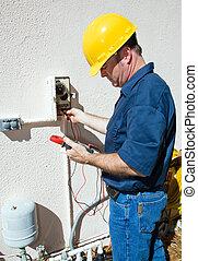 electricista, reparación, regadera, bomba