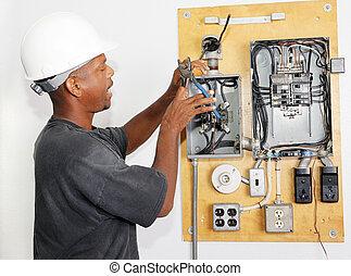 electricista, rizar, alambre