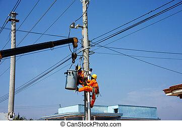 electricista, sistema, reparación, alambre, eléctrico