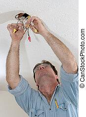 electricista, tirar, alambre