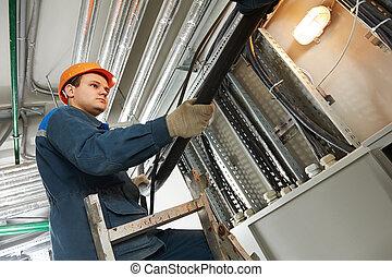 electricista, trabajador, en, cablegrafiar