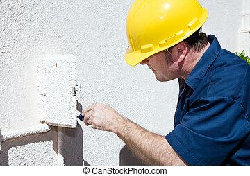 electricista, trabajando, en, eléctrico, caja