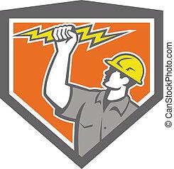 electricista, wield, cerrojo relámpago, cresta, lado