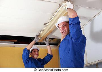 electricistas, neón, instalación