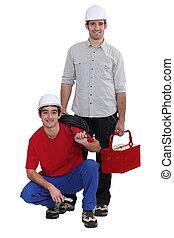 electricistas, trabajando, dos, juntos